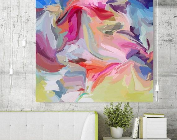 Moments of joy Abstract Green Pink Original Painting, Contemporary art, Abstract Green Painting Print