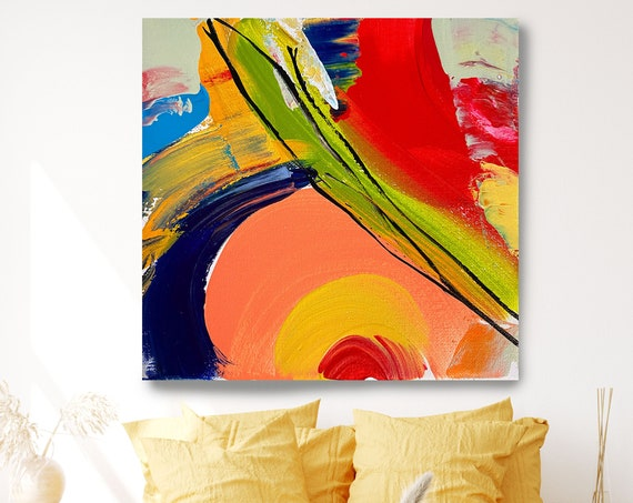Joyful Modernist Abstraction 3, Beautiful Abstract Art, Modern Wall Decor, Large Canvas Art Print, Mood Lifter