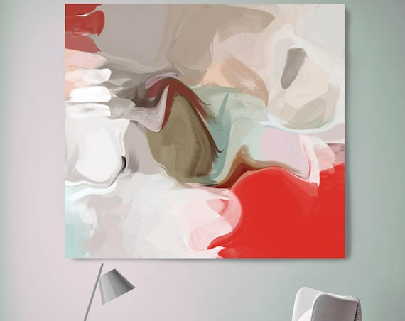 "Magic Moment. Abstract Paintings Art, Wall Decor, Extra Large Red Abstract Colorful Contemporary Canvas Art Print up to 48"" by Irena Orlov"