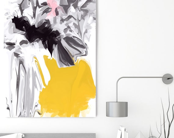 Hidden words, Original Art, Yellow Black Abstract, Modern, Contemporary, Irena Orlov, Flow Painting, Large Canvas Print, Canvas Print