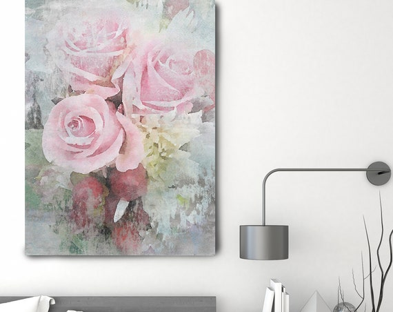 """Vibrant Summer Bouquet 3 Vintage Flower Watercolors Painting Canvas Print Pink Flower Watercolors Painting Canvas Art Print up to 72"""""""