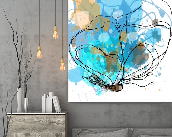 """Butterfly 11, Abstract Blue Yellow Butterfly Canvas Art Print, Abstract Splash Butterfly Canvas Art Print up to 48"""" by Irena Orlov"""