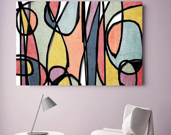 "Vibrant Colorful Abstract-0-19. Mid-Century Modern Colorful Canvas Art Print Mid Century Modern Canvas Art Print up to 72"" by Irena Orlov"