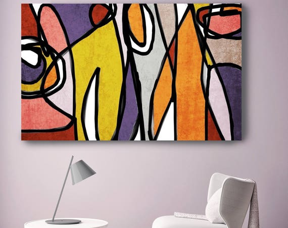 "Vibrant Colorful Abstract-0-23. Mid-Century Modern Purple Canvas Art Print Mid Century Modern Canvas Art Print up to 72"" by Irena Orlov"
