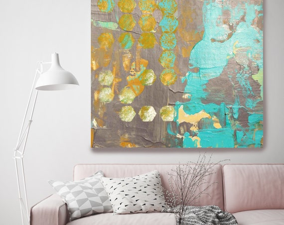 """Geo Mix I. Brown Teal Abstract Art, Wall Decor, Extra Large Abstract Colorful Contemporary Canvas Art Print up to 48"""" by Irena Orlov"""