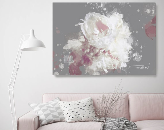 """Blow Away on The Wind 5-2 Gray and Mauve. Floral Painting,  Abstract Floral Contemporary Canvas Art Print up to 72"""" by Irena Orlov"""