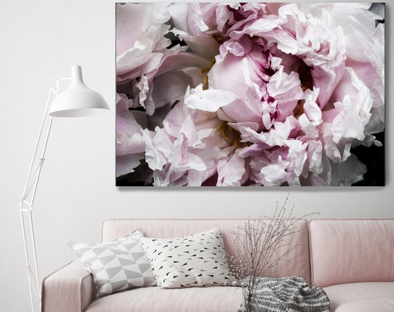 "Peony passion 8. Floral Photography Canvas Print, Shabby Chic Rustic Blur Blush Pink Gray Large Canvas Art Print up to 72"" by Irena Orlov"