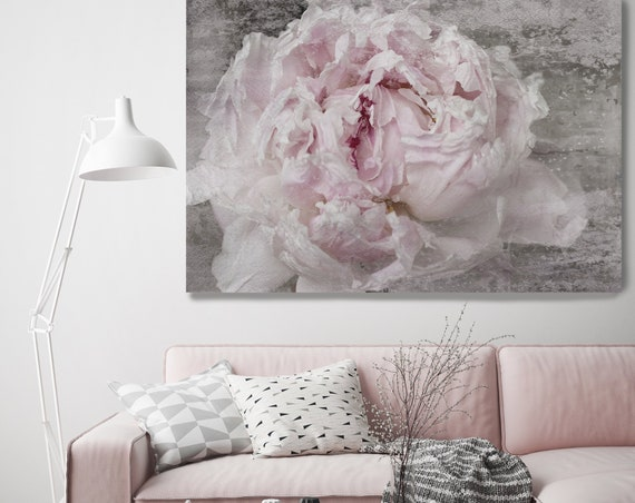 "French Peony, Shabby Pink Gray Rustic Peony, Shabby Chic Blush Peony Flower Hand Textured Canvas Art Print up to 72"" by Irena Orlov"