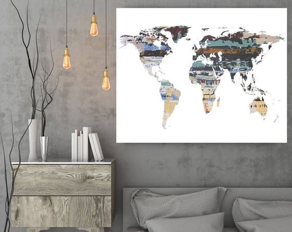 "Painted World Map. Large Canvas Art Print. Large Map Art up to 72"". Abstract Map. Home Decor. Abstract Map. Wall Decor by Irena Orlov."