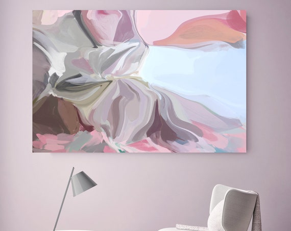 Pink Blue Abstract Painting, Trending Now Modern Canvas Art Print, Pink Blue Contemporary, Flow Painting, Large Canvas Print, Nature shows 1