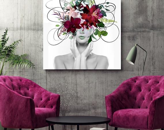 Woman Floral Portrait, Flower head woman Canvas Print, Sexy wall art, Equivalent exchange 19, Floral Head Woman Print, Woman Fashion Art