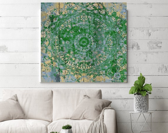 """Green Moroccan pattern I. Geometrical Green Abstract Art, Wall Decor, Large Abstract Colorful Canvas Art Print up to 48"""" by Irena Orlov"""
