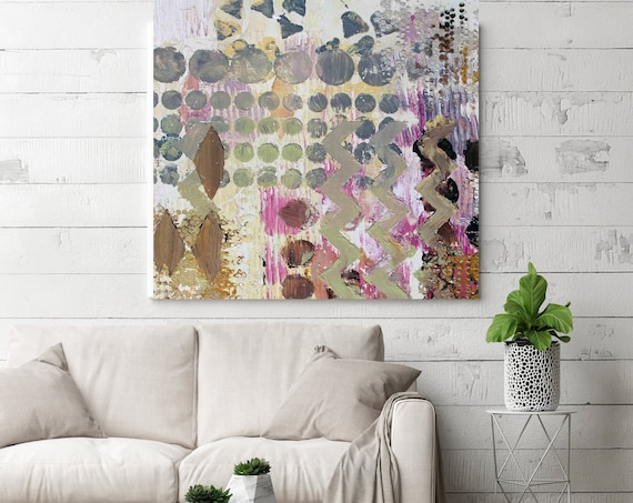 "Creative Process Geometrical Abstract Painting, Wall Decor, Large Abstract Colorful Contemporary Canvas Art Print up to 48"" by Irena Orlov"