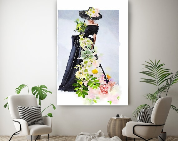 Fashion Painting, Figurative painting, Woman watercolor painting print, Fashion Spring Inspiration, Watercolor painting canvas