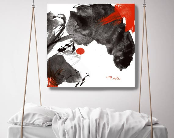 "Awaken. Abstract Black and Red Minimalistic Canvas Art Print. Extra Large up to 48"" Abstract Wall Art Decor by Irena Orlov"
