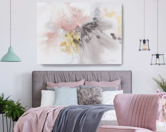 Pink Blue Brown Grey Watercolor Abstract Splash 1. Watercolor Abstract Painting Canvas Print, Contemporary Art, Print, Gold and Pink Decor