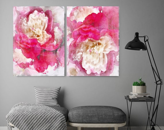 Peony Strikingly Chic -2 piece - Floral Painting Farmhouse Decor Hot Pink Peony Watercolor Painting Print Floral canvas print