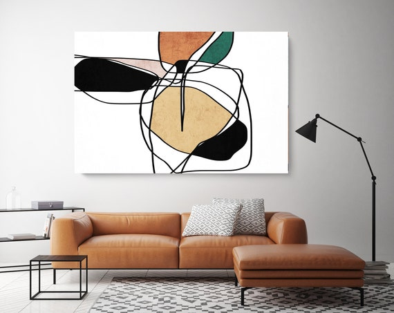 Line Art Modern Coper Black Green Canvas Art Print Scandinavian print Minimalist abstract Wall decor Minimalist Art Abstract Line Art 16