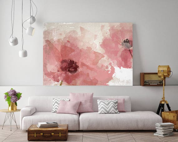 "Pink Flowers, Floral Painting, Pink White Floral Art, Large Rustic Pink Flower Canvas Art Print up to 72"" by Irena Orlov"