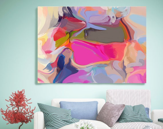 Home decor wall art. Abstract art. Boho Art. Oversized Art, Large Canvas Print. Energy Painting. Colorful Abstract Artwork Between shadows 2