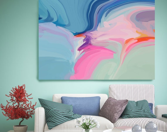 Bohemian Large Abstract Art, Blue Abstract Canvas Print Large Modern Abstract Wall Art, Abstract Painting, Colors on the blue side