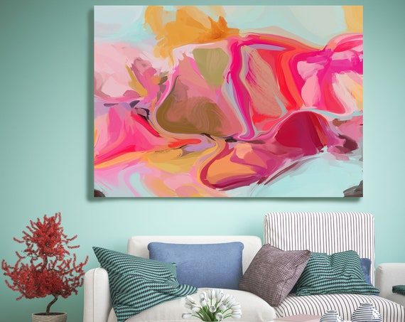 Home decor wall art. Abstract art. Boho Art. Oversized Art, Large Canvas Print. Energy Painting. Colorful Abstract Artwork The wind moves 2