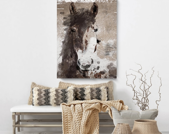 Roy Moore Horse, Rustic Brown Horse Print, Rustic Horse Picture, Animal Canvas Wall Art, Extra Large Horse Wall Art, Horse Canvas Wall Art