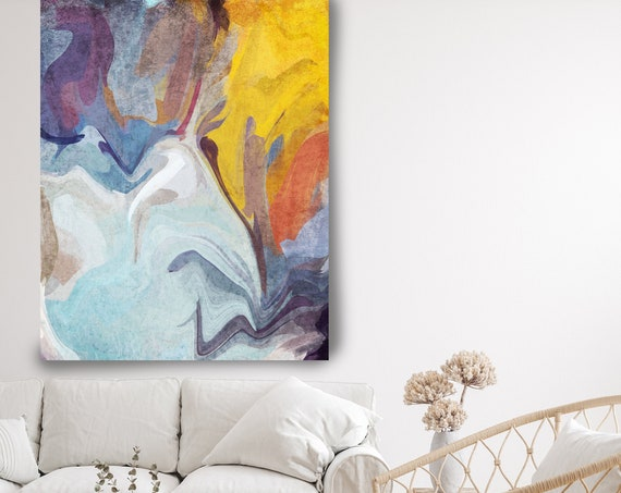 Contemporary Art Abstract Painting Print Canvas Blue Yellow Abstract Art, modern painting wall art print, Abstract Colorful Flows-121-56-04