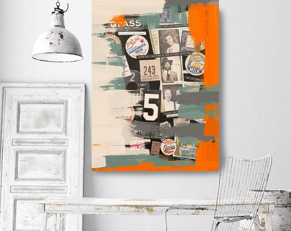 Involvement, Collage Wall Art,  Print on Canvas, Large Canvas Print, Urban Canvas Print, Collage wall Art, iNDUSTRIAL ART