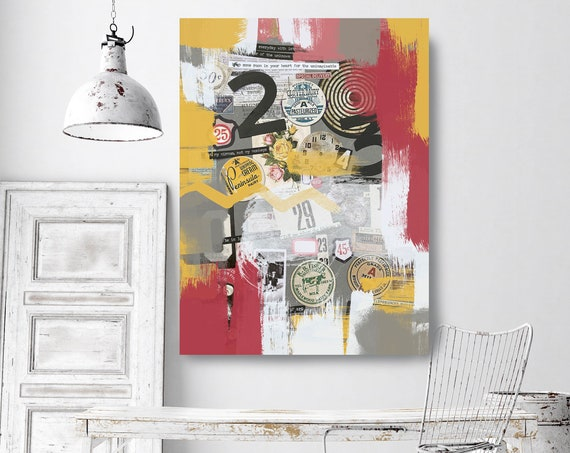 The discovery of Paradoxes, Collage Wall Art,  Print on Canvas, Large Canvas Print, Urban Canvas Print, Collage wall Art, iNDUSTRIAL ART