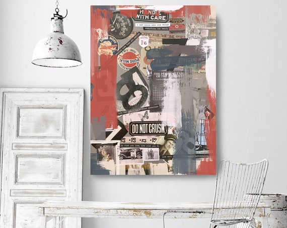 Physical Manipulation, Collage Wall Art, Print on Canvas, Large Canvas Print, Urban Canvas Print, Collage Wall Art, iNDUSTRIAL ART