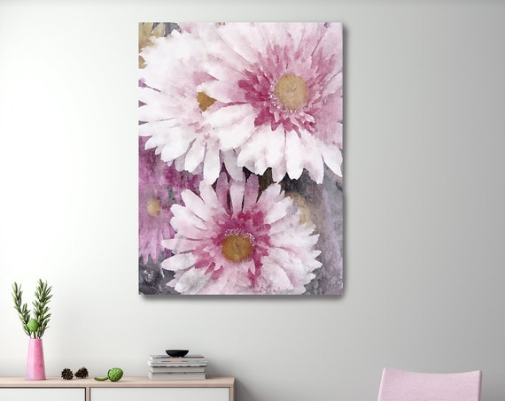 Pleasing Pink Flowers Vintage Still Life Painting Blush Pastel Pink Bedroom Decor, Flower Canvas Print, Art, Floral Wall Decor
