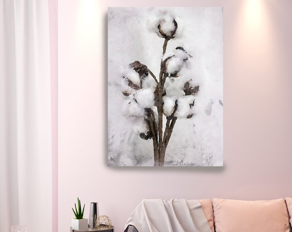 Cotton Bolls Watercolor Canvas Print, Cotton Flowers Abstract Brown Gray Home Decor, Shabby Chic Wall Art Print, Watercolor cotton flower