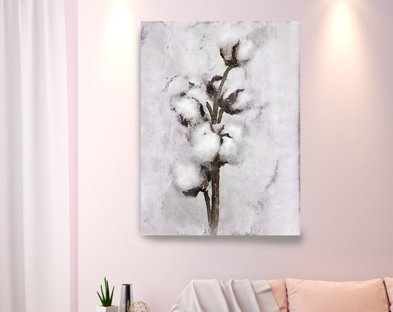 Cotton Bolls Watercolor Canvas Print, Cotton Flowers Abstract Brown Gray Home Decor, Shabby Chic Wall Art, Watercolor cotton flower