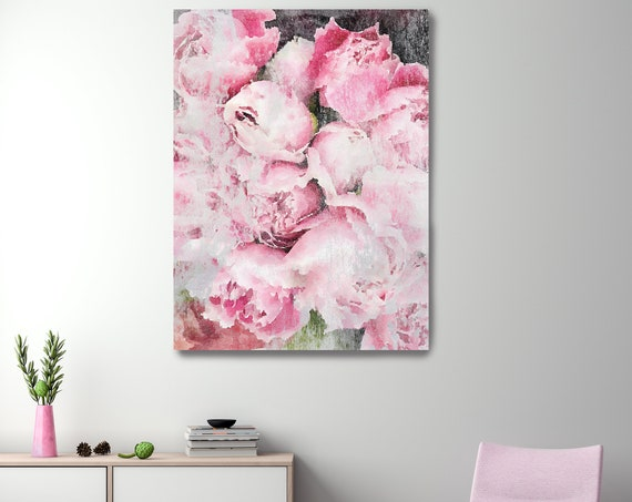 Pink Peonies Vintage Still Life Painting Peony Painting Blush Pastel Pink Bedroom Decor, Peony Flower Canvas Print, Peony Art, Peony Decor