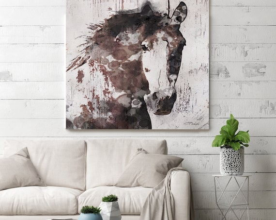 "Gorgeous Horse Large Canvas, Horse Art, Brown Rustic Horse, Rustic Vintage Horse Wall Art Print up to 50"" by Irena Orlov"
