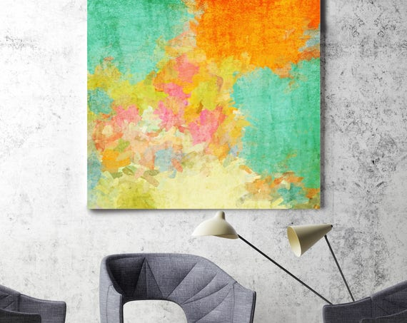 "Kaleidoscope N 24. Floral Painting, Orange Yellow Green Abstract Canvas Art Print up to 48"" by Irena Orlov"