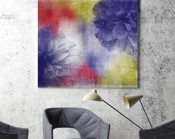 "Nostalgic. Floral Painting, Red Purple Yellow Abstract Art, Large Abstract Colorful Contemporary Canvas Art Print up to 48"" by Irena Orlov"