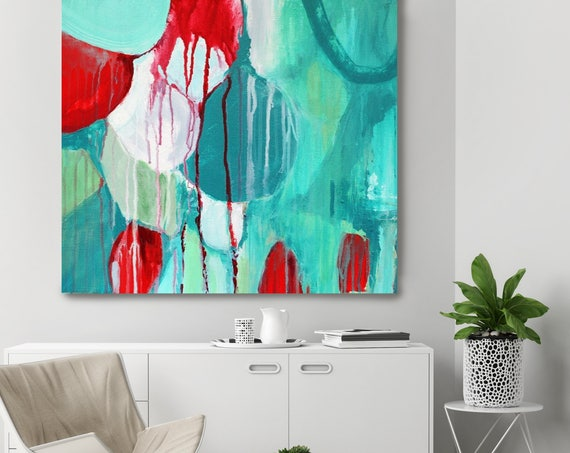 """Sensation. Green Red Abstract Art, Wall Decor, Extra Large Abstract Colorful Contemporary Canvas Art Print up to 48"""" by Irena Orlov"""