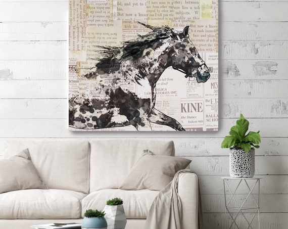 Bay Horse 2| Horse Painting | Giclee on Canvas | Farm Animal | Horse Art| Rustic Horse | Horse Canvas | Abstract Horse Black Horse Vintage