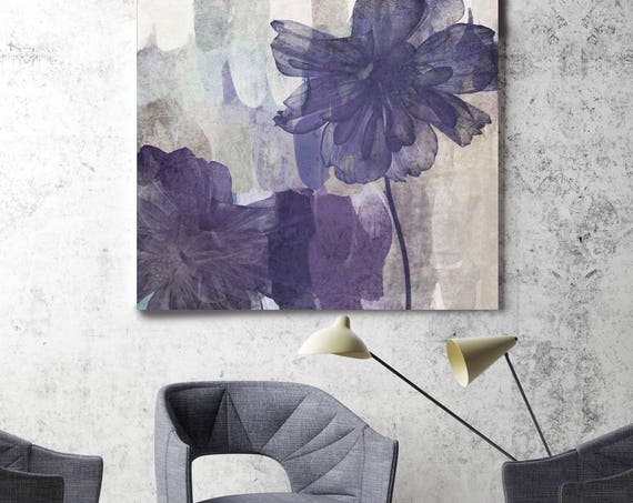 "Happiness Bloom III. Purple Gray Floral Painting Canvas Art Print, Abstract Purple Flower Canvas Art Print up to 48"" by Irena Orlov"