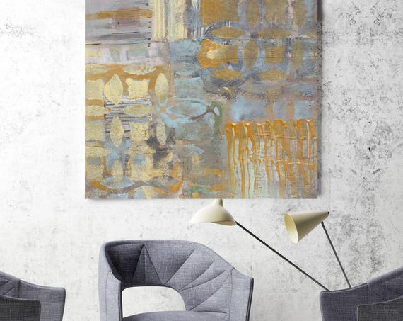 "Earth Wave. Blue Yellow Gray Geometrical Abstract Art, Extra Large Abstract Colorful Contemporary Canvas Art Print up to 48"" by Irena Orlov"