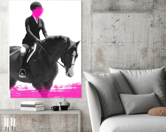 "Female Rider 4, Extra Large Horse Wall Decor, Black Pink Contemporary Horse, Large Contemporary Canvas Art Print up to 72"" by Irena Orlov"