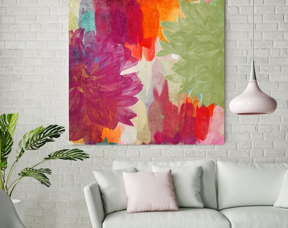 "Red Green Flowers, Colorful Summer Blooms. Extra Large Floral Canvas Art Print up to 48"", Red Green Canvas Wall Decor by Irena Orlov"
