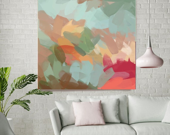"Earth Spirit. Abstract Paintings Art, Wall Decor, Extra Large Abstract Aqua Red Canvas Art Print up to 48"" by Irena Orlov"