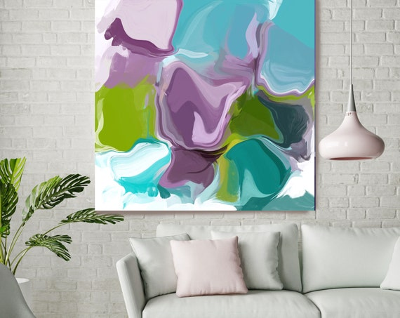 """Attitude 3, Blue Green Purple Blur Abstract Painting, Blue Green Purple Canvas Art Print up to 48"""" by Irena Orlov"""