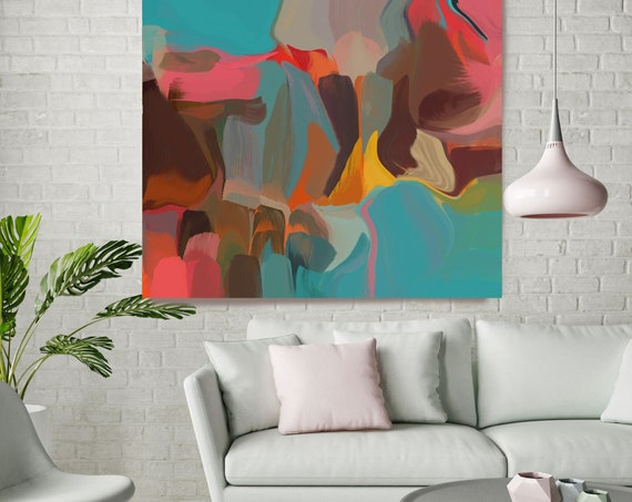 Living room Decor, Abstract Paintings, Turquoise Red Canvas Print, Abstract Painting Large, Art Deco Wall Decor, Inspirational Wall Art
