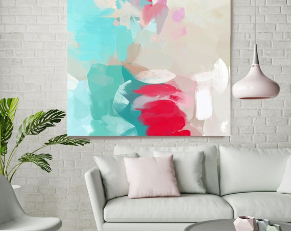 """Beneath a Sunny Sky 1, Blue Red Beige Blur Abstract Painting, Blue Red Beige Canvas Art Print up to 48"""" by Irena Orlov"""