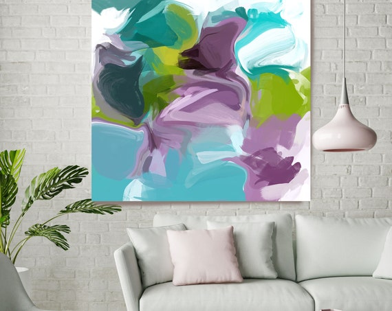 """Attitude 5, Blue Green Purple Blur Abstract Painting, Blue Green Purple Canvas Art Print up to 48"""" by Irena Orlov"""