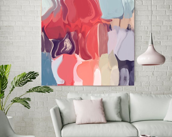 "Unity of Color. Abstract Paintings Art, Wall Decor, Extra Large Abstract Red Blue Contemporary Canvas Art Print up to 48"" by Irena Orlov"